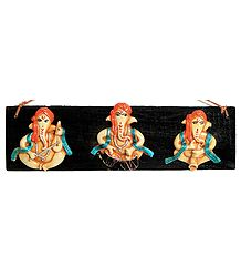 Three Musician Ganesha on a Wooden Plank - Wall Hanging