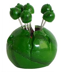 Resin Water Melon Stand with 6 Fruit Forks