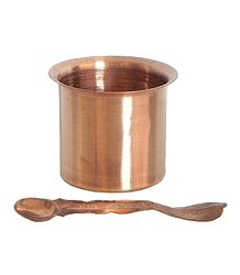 Copper Glass with Spoon for Panchamrita