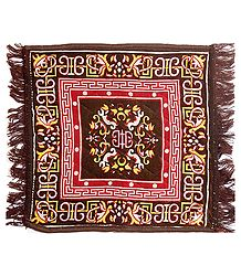 Dark Brown Velvet Ritual Carpet Mat