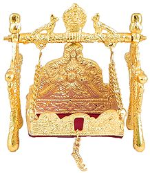 White Metal Carving Golden Jhula