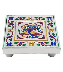 Colorful  Peacock Design Square Ritual Seat
