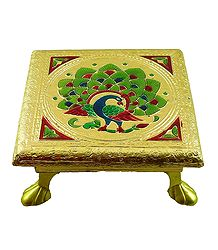 Ritual Seat With Meenakari Peacock Design