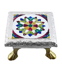 Rectangle Ritual Seat With Meenakari Flower Design on Metal Foil Paper