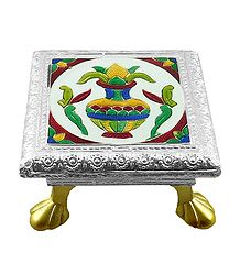 Rectangle Ritual Seat With Meenakari Kalash Design on Metal Foil Paper