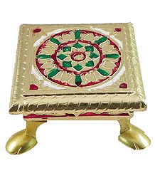 Wood Ritual Seat with Metal Foil