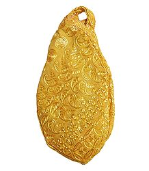 Embroidered Yellow Cotton Japa Mala Bag