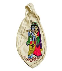 Embroidered Radha Krishna on Off-White Cotton Japa Mala Bag