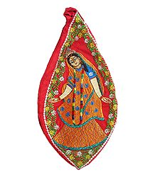 Embroidered Radha on Red Cotton Japa Mala Bag