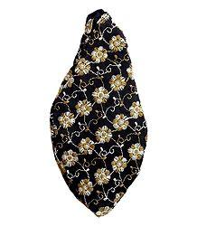 Embroidered Black Cotton Japa Mala Bag