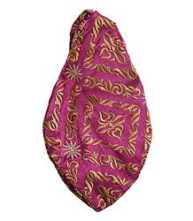 Embroidered Magenta Cotton Japa Mala Bag