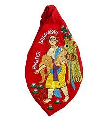 Embroidered Red Cotton Japa Mala Bag