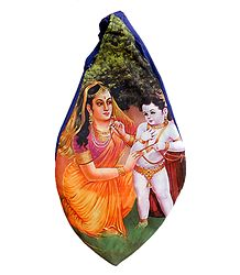Cotton Japamala Bag with Yashoda, Krishna Print
