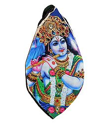 Cotton Japamala Bag with Krishna Print