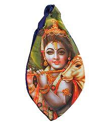 Cotton Japamala Bag with Krishna Print