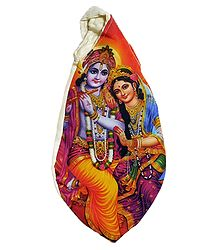 Japamala Bag with Radha Krishna Print
