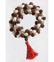 Pearl & Rudraksha Beads Japamala