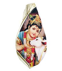 Japamala Cotton Bag with Krishna with Cow Print