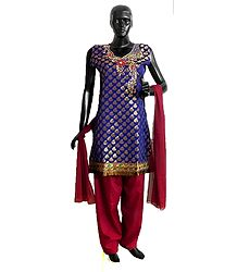 Blue Banarasi Art Silk Kurta with Gorgeous Zardosi Work Neckline with Red Salwar and Chunni