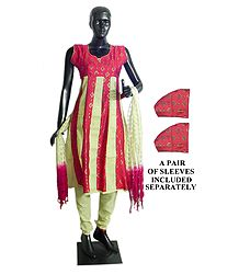 Red with Beige Printed Cotton Churidar, Kurta Set