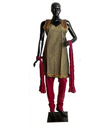 Seal Brown Cotton Kurta with Zari Border, Maroon Churidar, Chunni and a Pair of Unstitched Sleeves