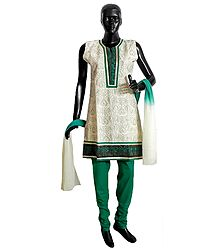 Off-White Cotton Parsi Embroidered Kurta with Cyan Churidar and Chunni