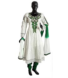 Parsi Embroidered Neckline on Off-White Self Design Cotton Full Sleeve Anarkali Kurta with Green Churidar and Chunni