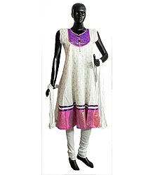 Self Design White Churidar Kurta and Chunni