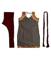 Seal Brown Cotton Kurta with Zari Border, Maroon Churidar, Chunni and a Pair of Unstitched Sleeves