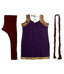 Purple Cotton Kurta with Zari Border, Maroon Churidar, Chunni and a Pair of Unstitched Sleeves
