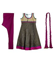 Printed Cotton Kurta with Magenta Churidar, Chunni and a Pair of Unstitched Sleeves