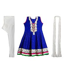 Parsi Embroidered Neckline on Dark Blue Self Design Cotton Kurta with White Churidar and Chunni