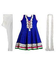 Parsi Embroidered Neckline on Dark Blue Self Design Cotton Kurta with White Churidar and Chunni