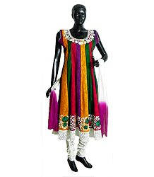 Multicolor Cotton Parsi Embroidered Kurta with White Lace Border, White Churidar and Chunni