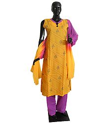 Embroidered Stone Setting Yellow Kameez, Magenta Salwar and Magenta Yellow Combination Chunni