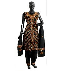 Black Kantha Stitch Cotton Salwar Kurta