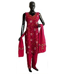 Red Kantha Stitch Cotton Kurta with Salwar and Chunni