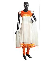 Saffron Parsi Embroidery and Chiffon Neckline on White Net Anarkali Kurta, Saffron Churidar and White Chunni