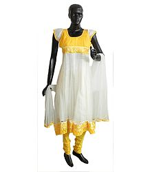 Yellow Parsi Embroidery and Chiffon Neckline on White Net Anarkali Churidar Kurta and Chunni