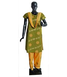 Yellow with Green Hand Painted Salwar, Kurta Set