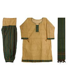 Light Yellow Cotton Kurta with Green and Yellow Striped Salwar and Chunni