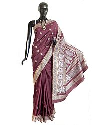 Royal Purple Baluchari Silk Saree with All-Over Boota and Woven King and Queen Design on the Pallu