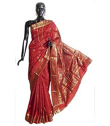 Brick Red Swarnachari Silk Saree with All-Over Zari Boota, Border and Gorgeous Pallu