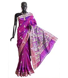 Purple with Magenta Mix Baluchari Silk Saree with All-Over Boota, Border and Gorgeous Pallu