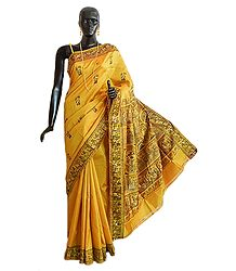 Golden Yellow Baluchari Silk Saree with All-Over Boota and Woven Mahabharata Scene on the Pallu and Border