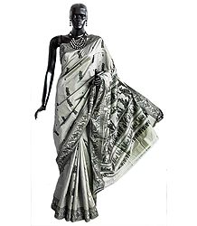 Grey Baluchari Silk Saree with All-Over Boota and Woven Gita-Updesh by Krishna to Arjuna in Black Thread on the Pallu