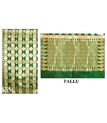 Green Banarasi Jamdani Silk Saree with Zari Design