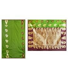 Buy Green Banarasi Ghicha Silk Saree with Zari Design