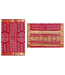 Buy Tie and Dye Red Art Silk Wrinkled Saree