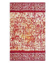 Yellow & Red Batik Print on White Saree